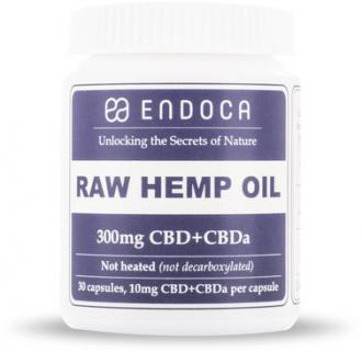 RAW CBD Hemp Oil Capsules 300mg of CBD+CBDa (3%) by Endoca