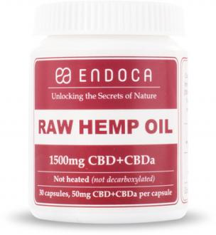 RAW CBD Hemp Oil Capsules 1500mg of CBD+CBDa (15%) by Endoca