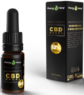 Black Premium CBD oil Drops 12% by Pharmahemp
